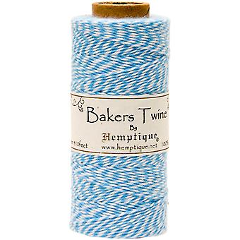 Hemptique Cotton Bakers Twine Spool 2 Ply 410 Feet Pkg Light Blue White Bts2 9356