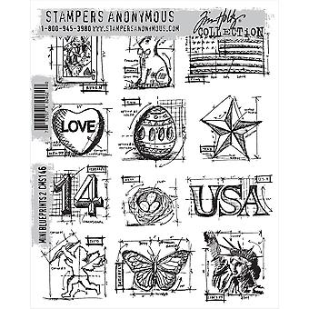 Tim Holtz Cling Rubber Stamp Set Mini bleus Cms146