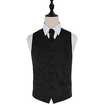 Black Passion Floral Patterned Wedding Waistcoat & Cravat Set