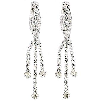 Clip On Earrings Store Long Triple Crystal Strand Drop Clip On Earrings