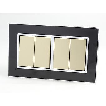 I LumoS AS Luxury Black Mirror Glass Double Frame 4 Gang 2 Way Rocker Light Switches