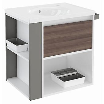 Bath+ 1 Drawer Cabinet + Shelf + Porcelain Basin Fresno-White-Grey 60CM