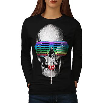 Wellcoda | Lollipop Party Skull Womens svart langermet t-skjorte