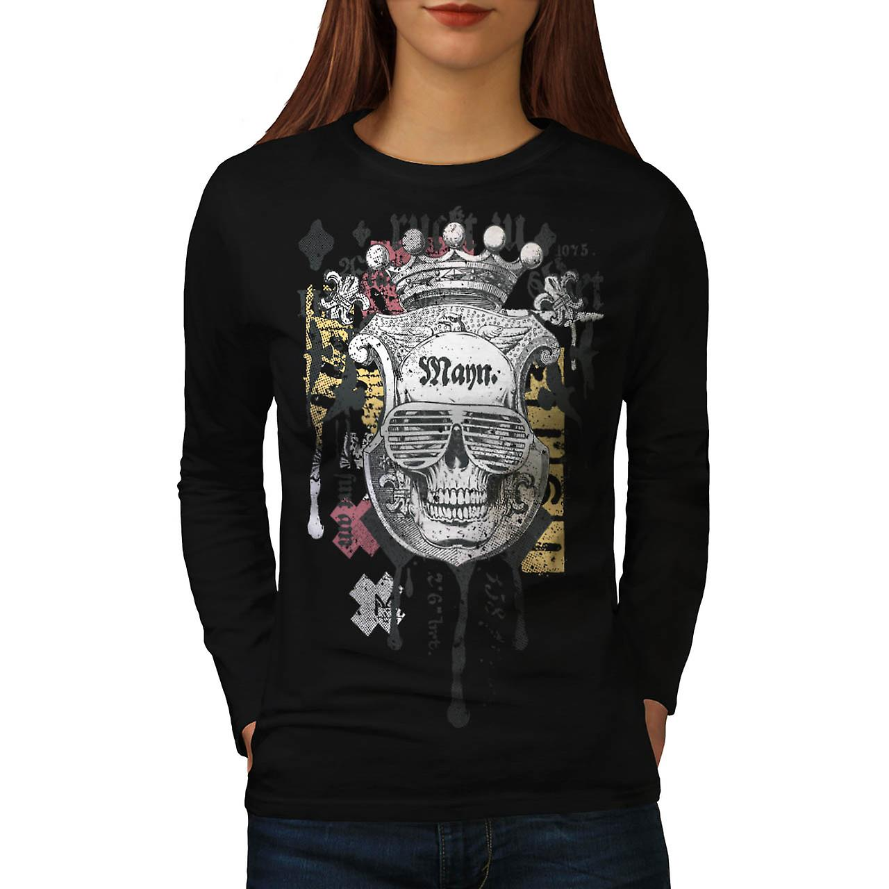 Man Royal Skull Team Swag Head Women Black Long Sleeve T-shirt | Wellcoda