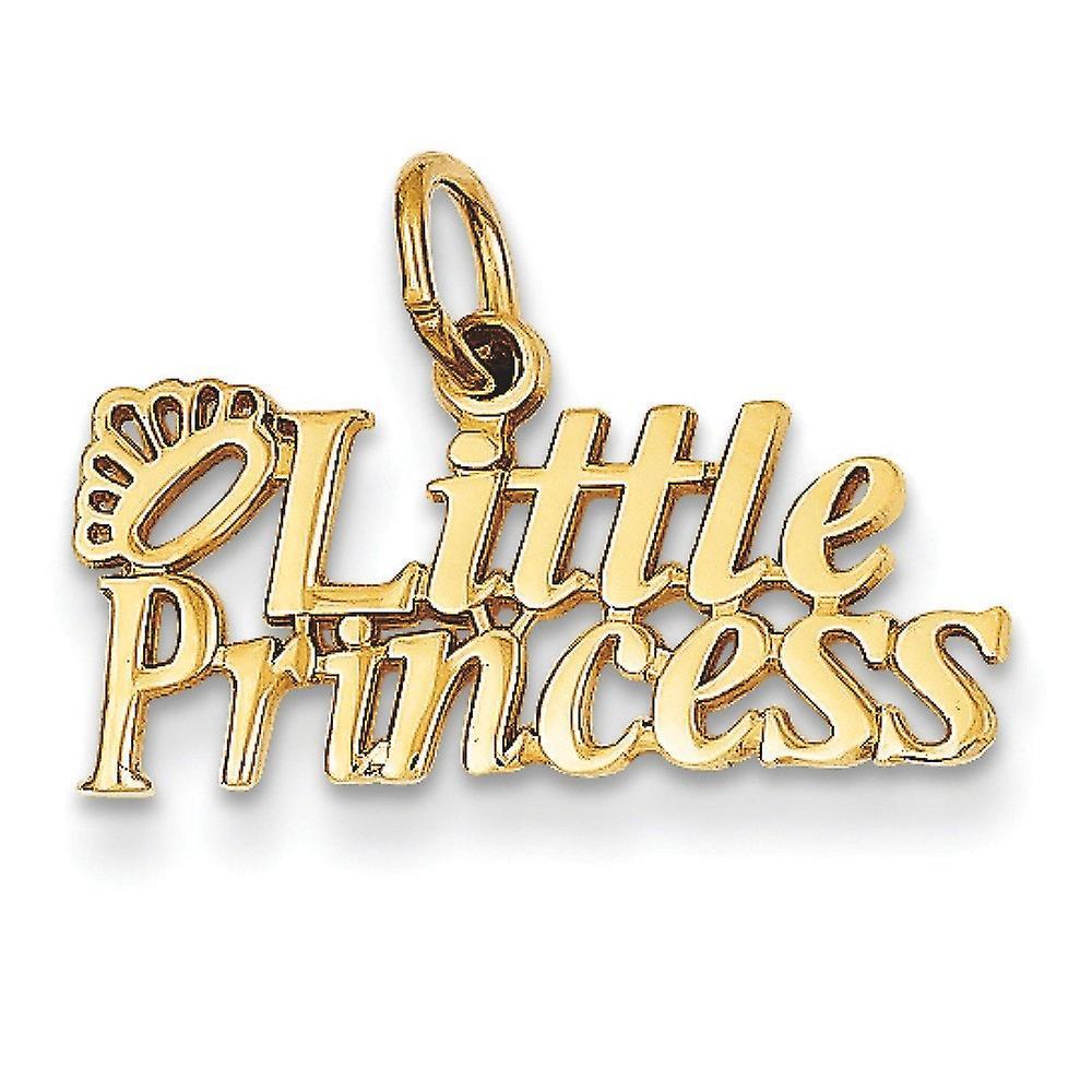 14k jaune or Polished Little Princess Charm - 1.0 Grams - Measures 15.3x20.3mm