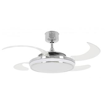 Ceiling fan Fanaway LED EVO1 dimmable Chrome with retractable blades 122 cm / 48