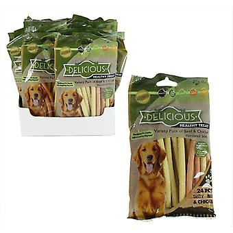 Pack of 24 Healthy Dog Treat Beef Chicken Food Pet Chews