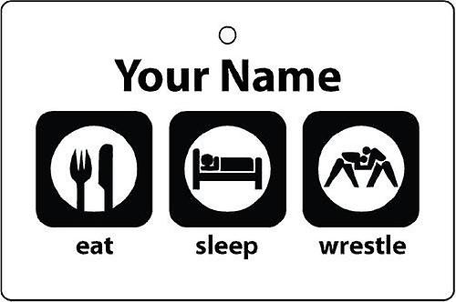 Personalised Eat Sleep Wrestling Car Air Freshener
