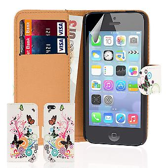 Design Book PU Leather case cover for Apple iPhone 5C - Colour Butterfly
