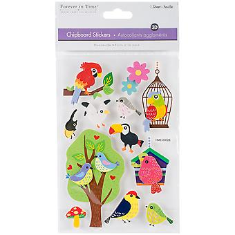 MultiCraft Handmade Lightweight Chipboard 3D Stickers-Bird Brain SS853-B