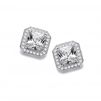 Cavendish French CZ Surround Square Sterling Silver Earrings