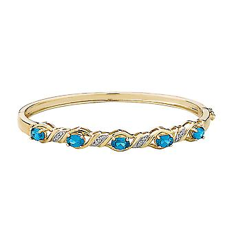 Created Blue Topaz Bangle with Diamonds in Sterling Silver with 14K Yellow Gold Plating