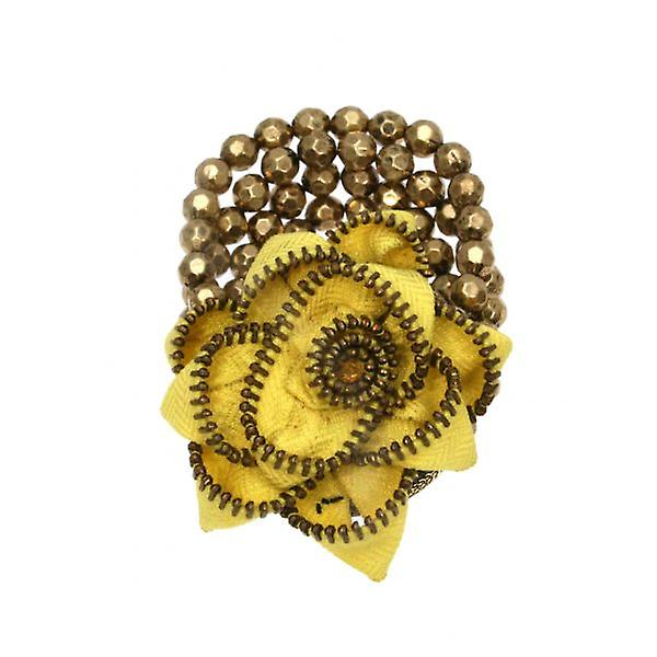 W.A.T Stretchy Gold Bead And Zip Flower Bracelet