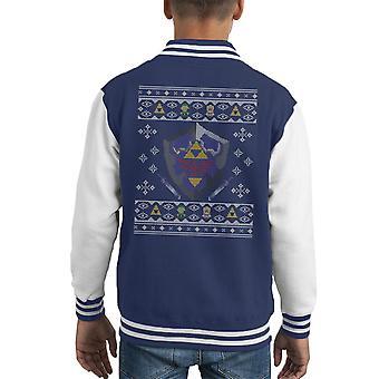 Weihnachten Zelda Hylian Shield stricken Kinder Varsity Jacket
