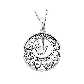 Children Pendant Necklace in Antiqued Sterling Silver with Chain