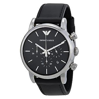 Emporio Armani AR1733 sort læder rem sort urskive dato-vindue Chronograph Watch