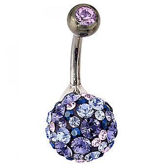 Piercing 925 /-s titanium navel piercing ball purple crystal element silver