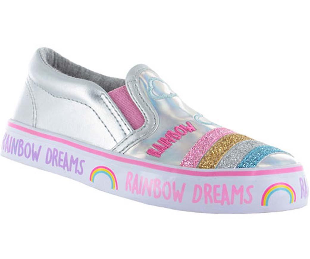 Mädchen glänzend Silber Slip-on-Skater-Schuhe mit einem glitzernden Regenbogen design