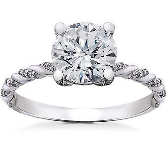 1 5/8 ct Lab Grown Round Eco Friendly Diamond Mia Engagement Ring 14k White Gold