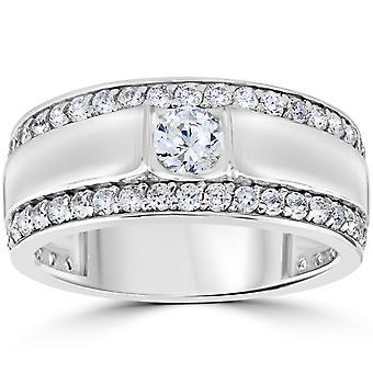 1 3/4 CT Mens diamante anello di nozze 10K oro bianco