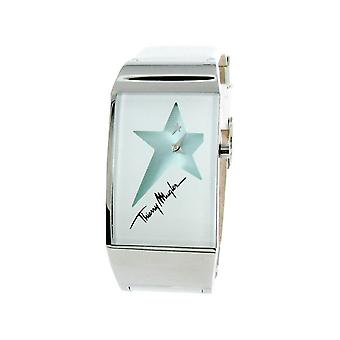 Thierry Mugler Silver Dial White Leather Strap