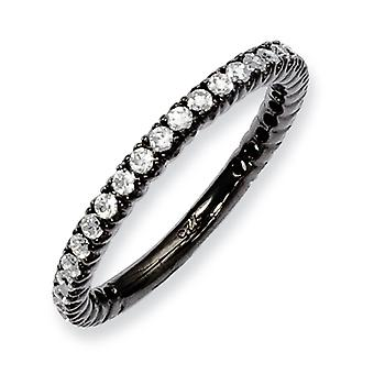 Sterling Silver Polished Prong set Ruthenium plating Black Plated With Cubic Zirconia Ring - Ring Size: 5 to 8