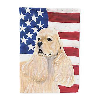 Carolines Treasures  SS4006-FLAG-PARENT USA American Flag with Cocker Spaniel Fl