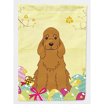 Easter Eggs Cocker Spaniel Red Flag Canvas House Size