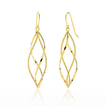 14k Yellow Gold High Polished and Diamond Cut Twisted Pointing Oval Drop Earring