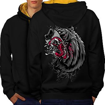 Angry Beast Angry Men Black (Gold Hood)Contrast Hoodie Back | Wellcoda