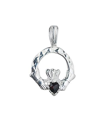 Silver 20x15mm Garnet set Claddagh Pendant