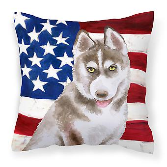 Siberian Husky Grey Patriotic Fabric Decorative Pillow