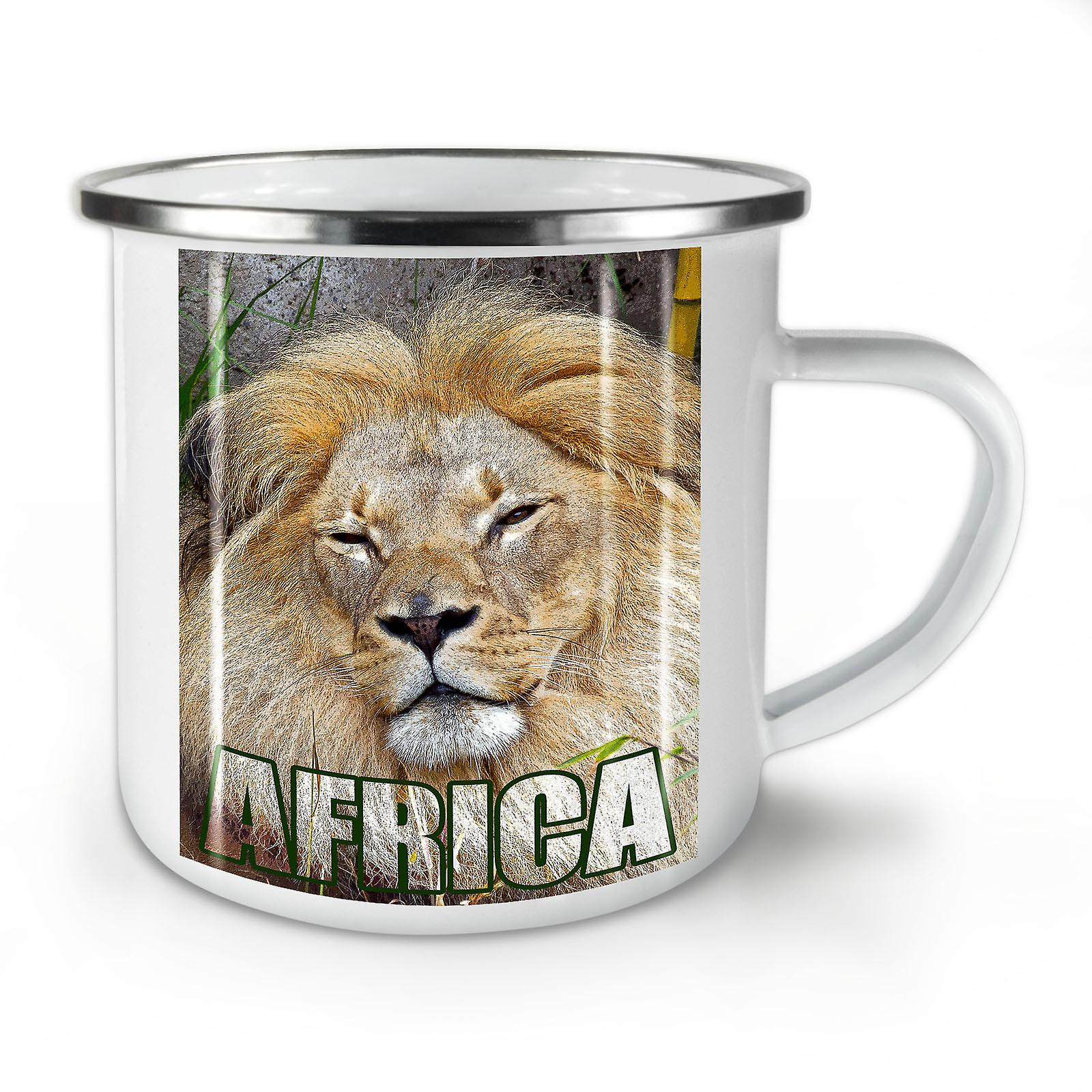 Nouvelle Afrique Whitetea Mug10 OzWellcoda Émail Sauvage Lion L'animal Café XnkwO80P