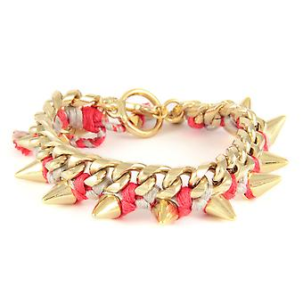 Ettika - Bracelet in yellow gold Spikes and cotton braided ribbons raspberry