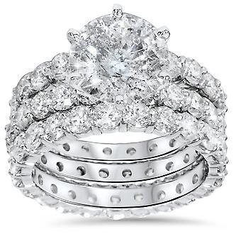 9ct Diamond Engagement Ring Eternity Guard Band Set 14k White Gold