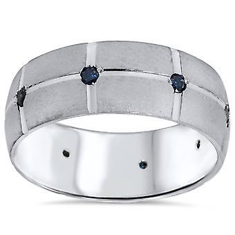 1 / 4ct para hombre azul diamante mano tallada boda banda 14K oro blanco 8mm