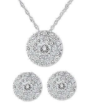 2 1 / 4ct diamant Double Halo goujons & correspondant pendentif Set 14K White Gold