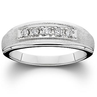 Mens Diamond Wedding Brushed Ring 10K White Gold