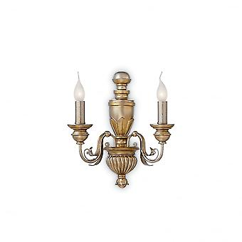 Ideal Lux Dora Antique 2 Arm Candle Light With Traditional Design Wall Light