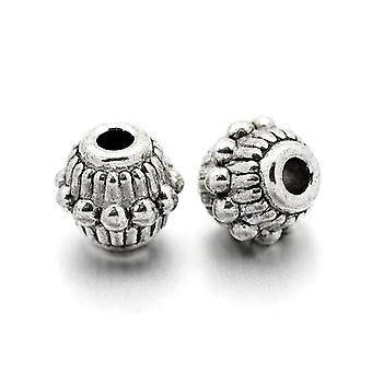 Packet 30 x Antique Silver Tibetan 6 x 7mm Bicone Spacer Beads HA17160