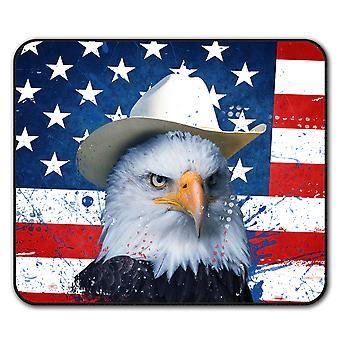 Águila de sombrero de vaquero bandera ratón antideslizante alfombra Pad 24 cm x 20 cm | Wellcoda