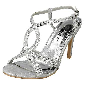 Dames Anne Michelle Jewelled Strappy sandalen F10834 - zilver Glitter - UK maat 3 - EU Size 36 - US maat 5