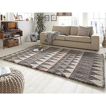 Design cut pile carpet deep pile triangle grey pink