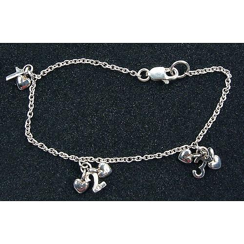 D for Diamond Mini Alphabite Silver Bracelet