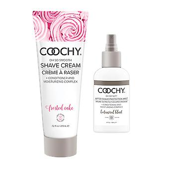 Coochy Moisturizing Shave Cream and After Shave Mist- Rash Free Conditioning Creme and Mist Set Frosted Cake