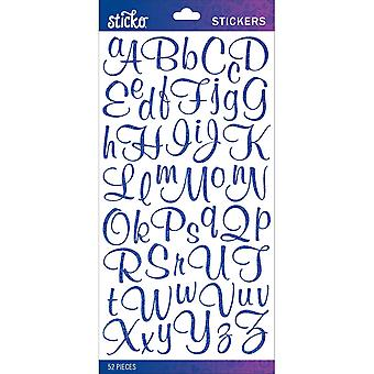 Sticko Alphabet Stickers-Blue Glitter Script Small