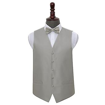 Silver Solid Check Wedding Waistcoat & Bow Tie Set