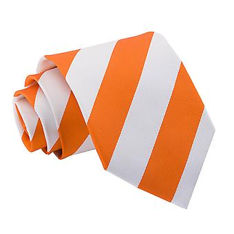 Orange & vit randig klassiska slips
