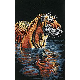 Tijger koelen Out geteld Cross Stitch Kit-9