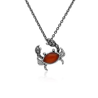 Gemondo Sterling Silver Dyed Carnelian & Marcasite Crab 45cm Necklace